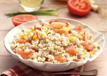 Gersten Salat mit Lachs inkl. Nährwertangaben und Kilokalorien