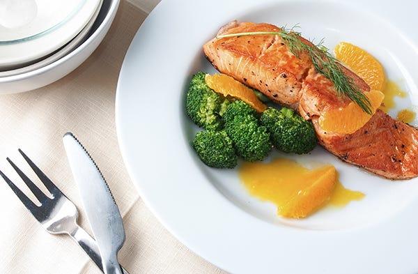 Rezept Lachs mit Orangen und Brokkoli