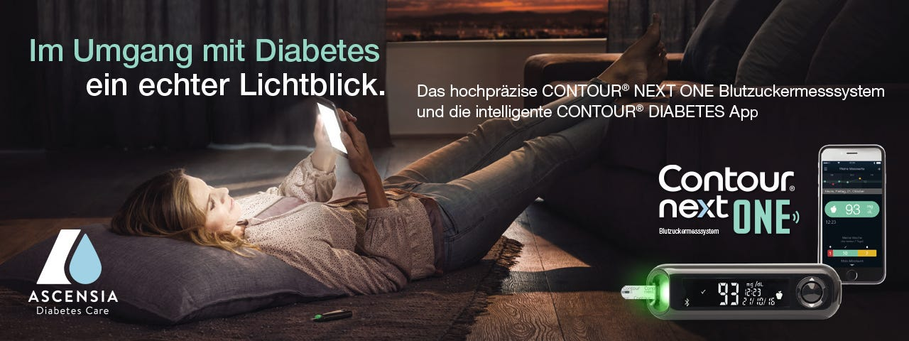 Frau liegt mit dem Rücken auf dem Boden und schaut in ihr Smartphone. Daneben großformatig die Darstellung der Contour Diabetes App